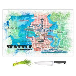 Artistic Kitchen Bar Cutting Boards | Markus Bleichner - Seattle Tourist Map 1 | Cities Maps Travel