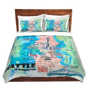 Artistic Duvet Covers and Shams Bedding | Markus Bleichner - Seattle Tourist Map 1 | Cities Maps Travel
