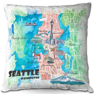 Throw Pillows Decorative Artistic | Markus Bleichner - Seattle Tourist Map 1 | Cities Maps Travel