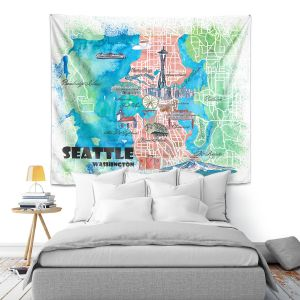 Artistic Wall Tapestry   Markus Bleichner - Seattle Tourist Map 1   Cities Maps Travel