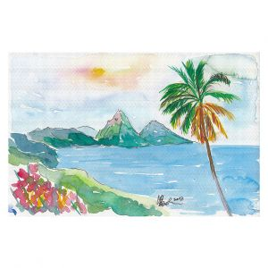 Decorative Floor Covering Mats | Markus Bleichner - St Lucia | coast mountain beach palm tree