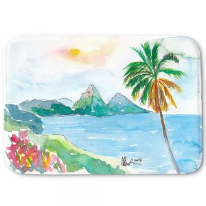 Decorative Bathroom Mats | Markus Bleichner - St Lucia | coast mountain beach palm tree