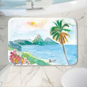 Decorative Bathroom Mats | Markus Bleichner - St Lucia | coast mountain beach palm tree