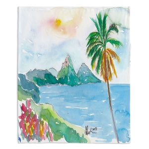 Decorative Fleece Throw Blankets | Markus Bleichner - St Lucia | coast mountain beach palm tree