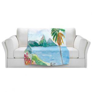 Artistic Sherpa Pile Blankets   Markus Bleichner - St Lucia   coast mountain beach palm tree