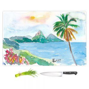 Artistic Kitchen Bar Cutting Boards   Markus Bleichner - St Lucia   coast mountain beach palm tree