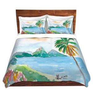 Artistic Duvet Covers and Shams Bedding | Markus Bleichner - St Lucia | coast mountain beach palm tree