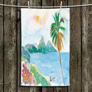 Unique Hanging Tea Towels | Markus Bleichner - St Lucia | coast mountain beach palm tree