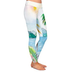 Casual Comfortable Leggings | Markus Bleichner - St Lucia | coast mountain beach palm tree
