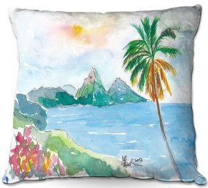 Throw Pillows Decorative Artistic | Markus Bleichner - St Lucia | coast mountain beach palm tree