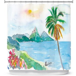 Premium Shower Curtains | Markus Bleichner - St Lucia | coast mountain beach palm tree