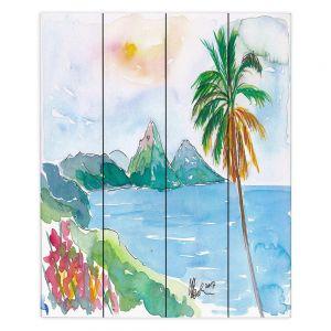Decorative Wood Plank Wall Art   Markus Bleichner - St Lucia   coast mountain beach palm tree