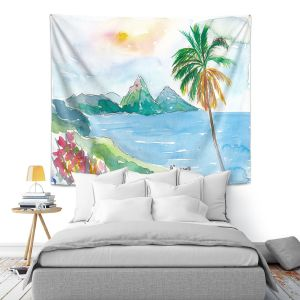 Artistic Wall Tapestry | Markus Bleichner - St Lucia | coast mountain beach palm tree