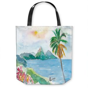 Unique Shoulder Bag Tote Bags | Markus Bleichner - St Lucia | coast mountain beach palm tree