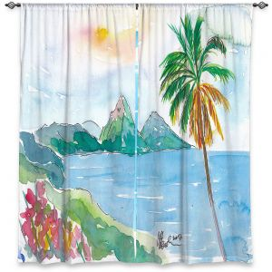 Decorative Window Treatments | Markus Bleichner - St Lucia | coast mountain beach palm tree