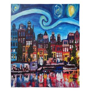 Artistic Sherpa Pile Blankets | Markus Bleichner - Starry Night Amsterdam | Nighttime Starry Night Amsterdam