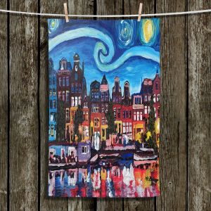 Unique Hanging Tea Towels | Markus Bleichner - Starry Night Amsterdam | Nighttime Starry Night Amsterdam