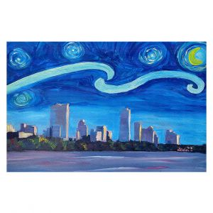 Decorative Floor Covering Mats | Markus Bleichner - Starry Night Austin Skyline | City cityscape buildings downtown Texas van Gogh