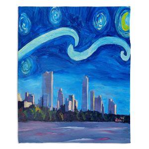 Decorative Fleece Throw Blankets | Markus Bleichner - Starry Night Austin Skyline | City cityscape buildings downtown Texas van Gogh