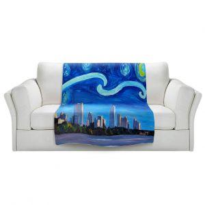 Artistic Sherpa Pile Blankets | Markus Bleichner - Starry Night Austin Skyline | City cityscape buildings downtown Texas van Gogh