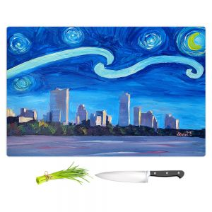 Artistic Kitchen Bar Cutting Boards | Markus Bleichner - Starry Night Austin Skyline | City cityscape buildings downtown Texas van Gogh