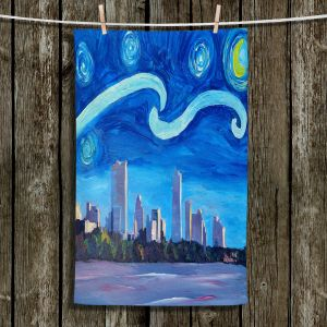 Unique Bathroom Towels | Markus Bleichner - Starry Night Austin Skyline | City cityscape buildings downtown Texas van Gogh