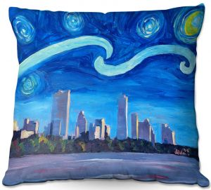 Throw Pillows Decorative Artistic | Markus Bleichner - Starry Night Austin Skyline | City cityscape buildings downtown Texas van Gogh