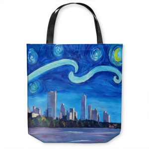 Unique Shoulder Bag Tote Bags | Markus Bleichner - Starry Night Austin Skyline | City cityscape buildings downtown Texas van Gogh