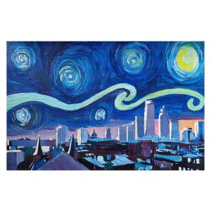 Decorative Floor Covering Mats   Markus Bleichner - Starry Night Boston Skyline   City cityscape buildings downtown Massachusetts van Gogh