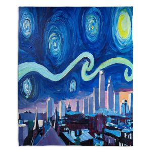 Artistic Sherpa Pile Blankets | Markus Bleichner - Starry Night Boston Skyline | City cityscape buildings downtown Massachusetts van Gogh