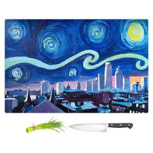 Artistic Kitchen Bar Cutting Boards | Markus Bleichner - Starry Night Boston Skyline | City cityscape buildings downtown Massachusetts van Gogh