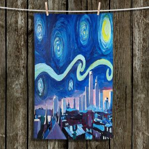 Unique Bathroom Towels | Markus Bleichner - Starry Night Boston Skyline | City cityscape buildings downtown Massachusetts van Gogh