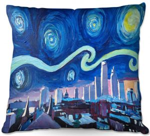 Decorative Outdoor Patio Pillow Cushion | Markus Bleichner - Starry Night Boston Skyline | City cityscape buildings downtown Massachusetts van Gogh