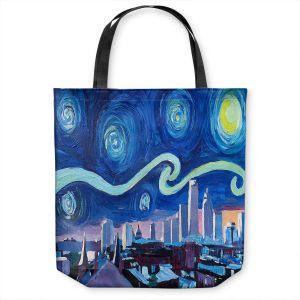Unique Shoulder Bag Tote Bags   Markus Bleichner - Starry Night Boston Skyline   City cityscape buildings downtown Massachusetts van Gogh