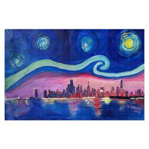 Decorative Floor Coverings | Markus Bleichner - Starry Night Chicago | Skyline Night Starry Night Chicago