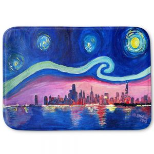 Decorative Bathroom Mats | Markus Bleichner - Starry Night Chicago | Skyline Night Starry Night Chicago