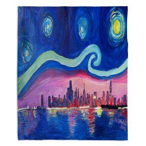 Decorative Fleece Throw Blankets | Markus Bleichner - Starry Night Chicago | Skyline Night Starry Night Chicago