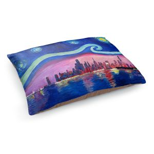 Decorative Dog Pet Beds | Markus Bleichner - Starry Night Chicago | Skyline Night Starry Night Chicago