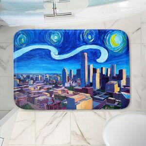 Decorative Bathroom Mats   Markus Bleichner - Starry Night Dallas Skyline   City cityscape buildings downtown Texas van Gogh