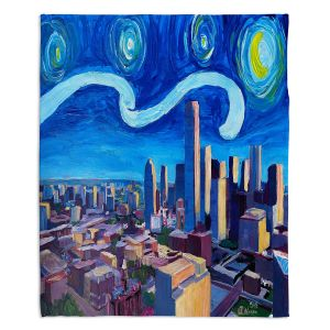 Decorative Fleece Throw Blankets | Markus Bleichner - Starry Night Dallas Skyline | City cityscape buildings downtown Texas van Gogh