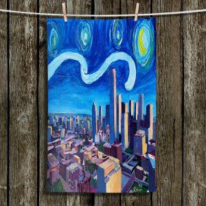 Unique Bathroom Towels | Markus Bleichner - Starry Night Dallas Skyline | City cityscape buildings downtown Texas van Gogh