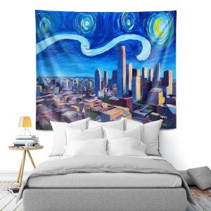 Artistic Wall Tapestry | Markus Bleichner - Starry Night Dallas Skyline | City cityscape buildings downtown Texas van Gogh