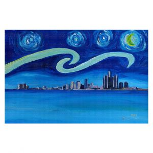 Decorative Floor Covering Mats | Markus Bleichner - Starry Night Detroit Skyline | City cityscape buildings downtown Michigan van Gogh
