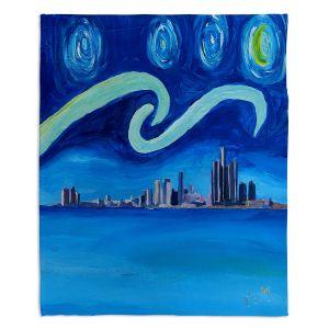 Decorative Fleece Throw Blankets | Markus Bleichner - Starry Night Detroit Skyline | City cityscape buildings downtown Michigan van Gogh