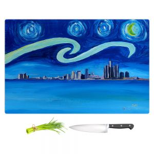 Artistic Kitchen Bar Cutting Boards | Markus Bleichner - Starry Night Detroit Skyline | City cityscape buildings downtown Michigan van Gogh