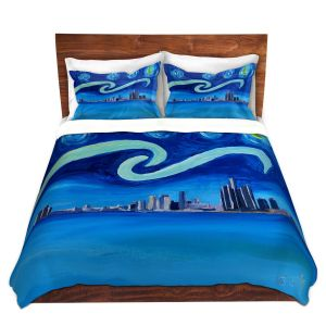 Artistic Duvet Covers and Shams Bedding | Markus Bleichner - Starry Night Detroit Skyline | City cityscape buildings downtown Michigan van Gogh