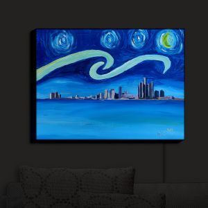 Nightlight Sconce Canvas Light | Markus Bleichner - Starry Night Detroit Skyline