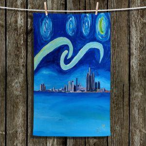 Unique Bathroom Towels | Markus Bleichner - Starry Night Detroit Skyline | City cityscape buildings downtown Michigan van Gogh