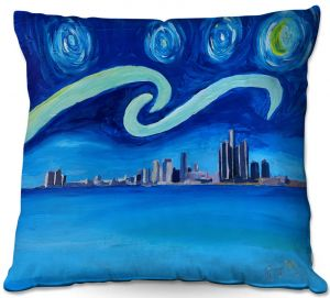 Decorative Outdoor Patio Pillow Cushion | Markus Bleichner - Starry Night Detroit Skyline | City cityscape buildings downtown Michigan van Gogh