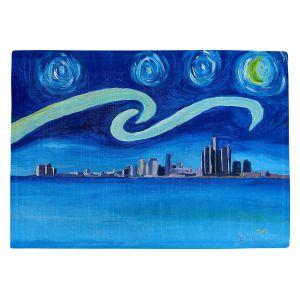 Countertop Place Mats   Markus Bleichner - Starry Night Detroit Skyline   City cityscape buildings downtown Michigan van Gogh